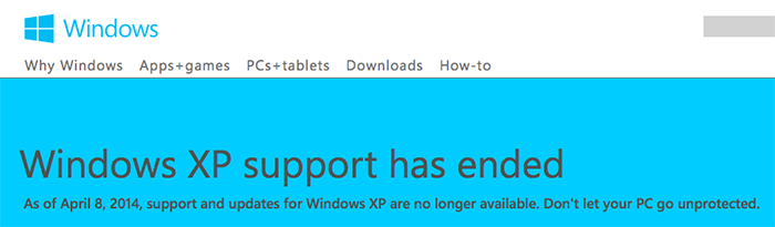 xp support has ended